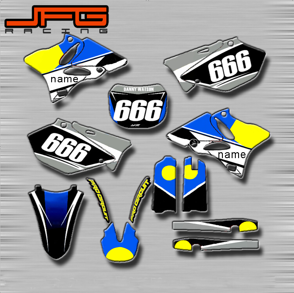 Motorcycle Customized Graphics Background Decals <font><b>Stickers</b></font> Kits For <font><b>Yamaha</b></font> YZ80 YZ85 YZ125 YZ250 YZ250F YZ450F WR250R <font><b>WR450F</b></font> image