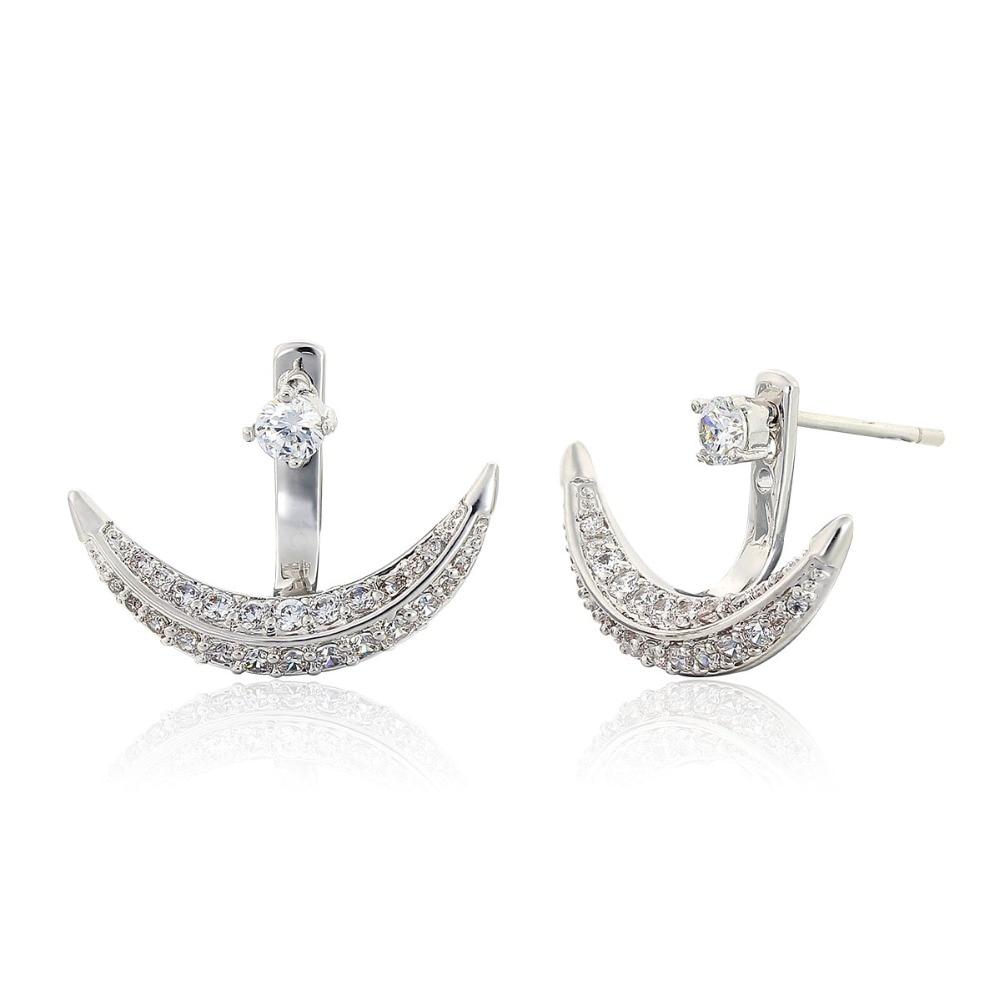 Front To Back Gold Color Moon Full Cz Zircon Double Side Stud Earrings For  Women Girls