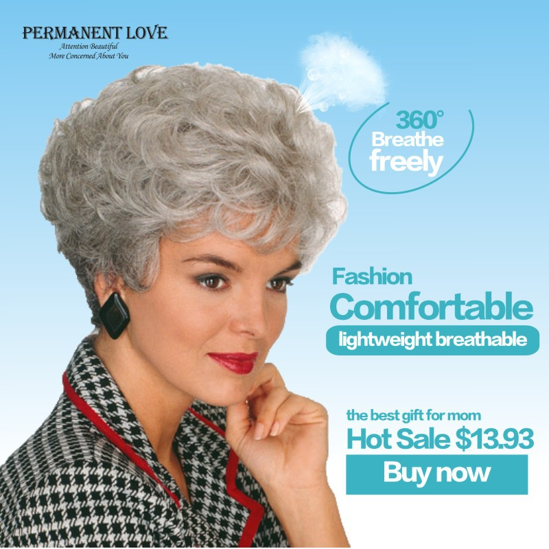 Heat Resistant synthetic short curly gray Wig fashion grey ...