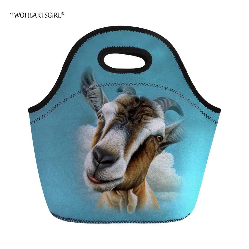 Twoheartsgirl Blue Neoprene Goat Print Lunch Bag Tote Thermal Insulated Zipper Lunchbox Keep Warm Children Kids Food Bag