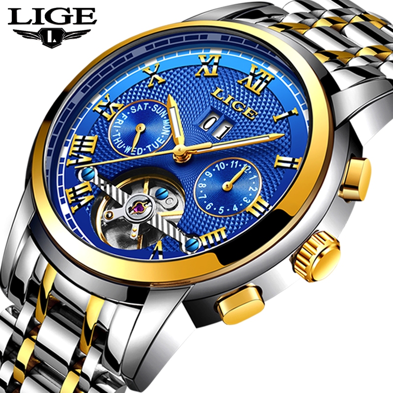 LIGE Mens Watches Top Brand Mens Automatic Mechanical Watch Mens Fashion Sport Watch Waterproof Watch Relogio Masculino+BoxLIGE Mens Watches Top Brand Mens Automatic Mechanical Watch Mens Fashion Sport Watch Waterproof Watch Relogio Masculino+Box