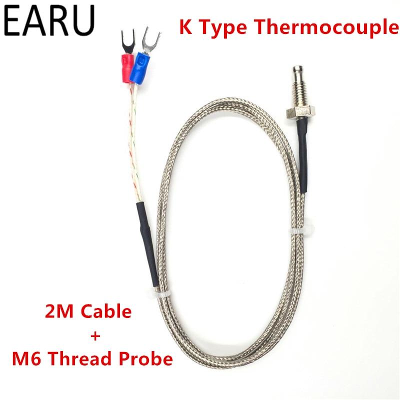 1 шт. нить M6 винт зонда Температура Сенсор термопары K Тип диапазон 0-400 градусов 2 м длинный кабель для pid контроллер термометр
