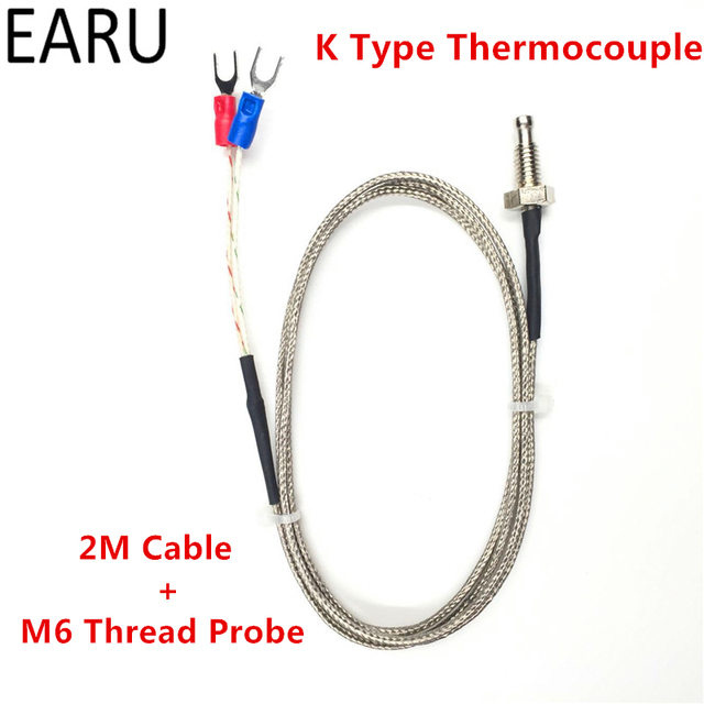 1pc Thread M6 Screw Probe Temperature Sensor Thermocouple K Type Range 0-400 Degree 2m Long Cable for PID Controller Thermometer