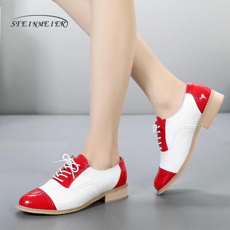 2019 mulher oxford sapatos de couro genuíno apartamentos marrom artesanal sapatos planos rendas até oxfords vintage sapatos para mulher com pele