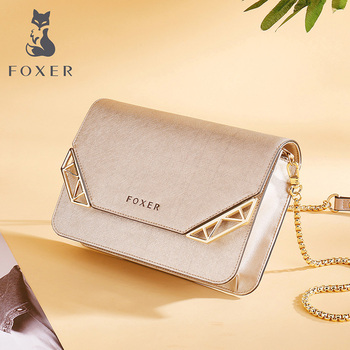 FOXER Brand Women's Cow Leather Crossbody Bag Small Female Fashion Shoulder Bag Mini Cellphone Messenger Bags for Girl