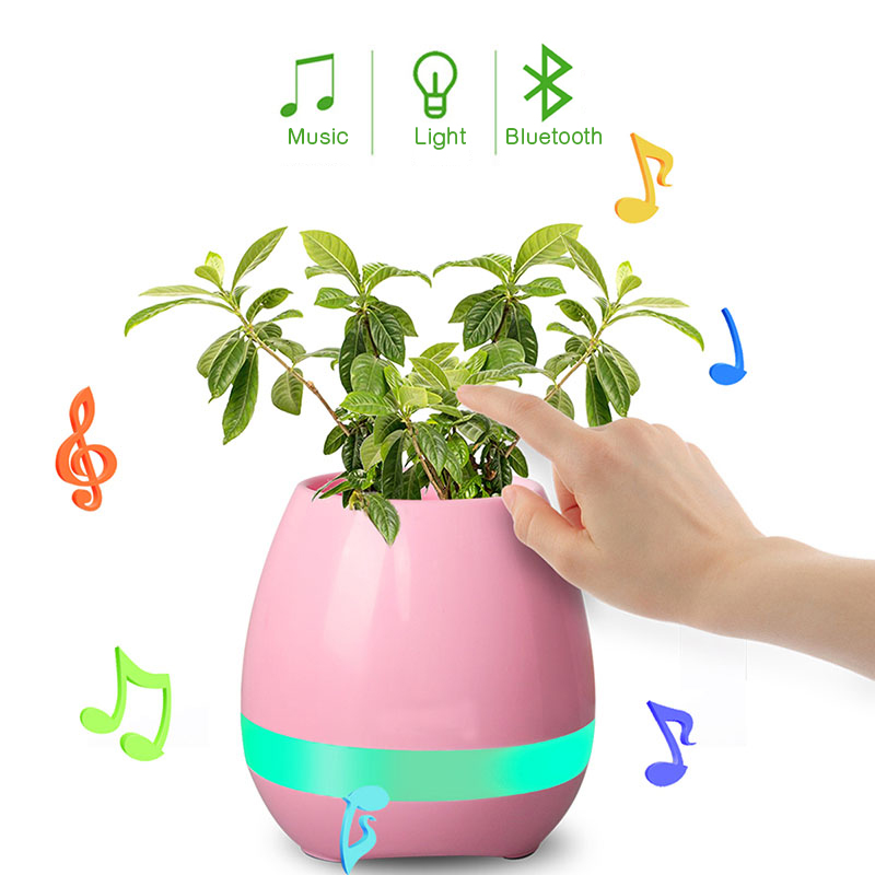 Smart Bluetooth MINI Wireless Music Flowerpot Speaker with Colorful LED Light and Poetic Songs Home Office Decorate Gift