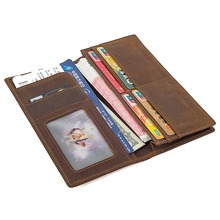 J.M.D  Top Quality Crazy Horse Leather Trendy Men Wallet With Window Multi Card Holder Long Brown R-8167R