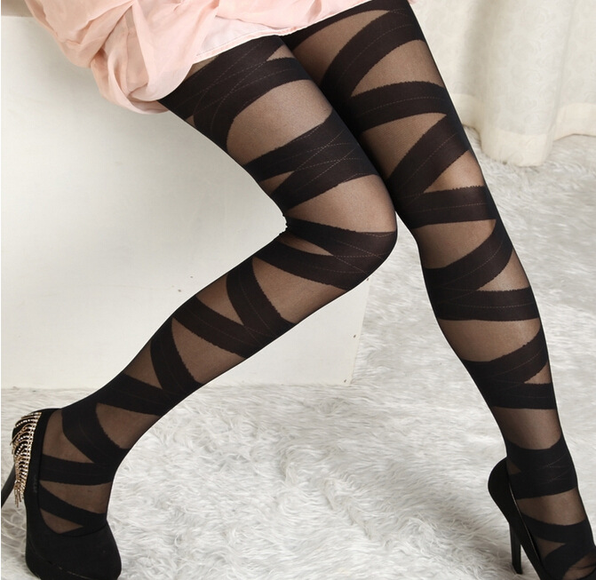 Fashion Womens Lady Girls Black Sexy Fishnet Pattern Jacquard Stockings Pantyhose Tights  Styles Woman 1pcs Dww29