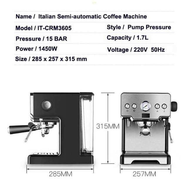 ITOP 15 Bar Italian Semi-automatic Coffee Maker Cappuccino Milk  Bubble Maker Americano Espresso Coffee Machine for Home 2