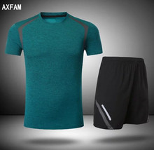AXFAM 2017 Short sleeves Sportswear Men's Running Sets Quick Dry Perfect quality Fitness Running Cycling clothing JUN7007