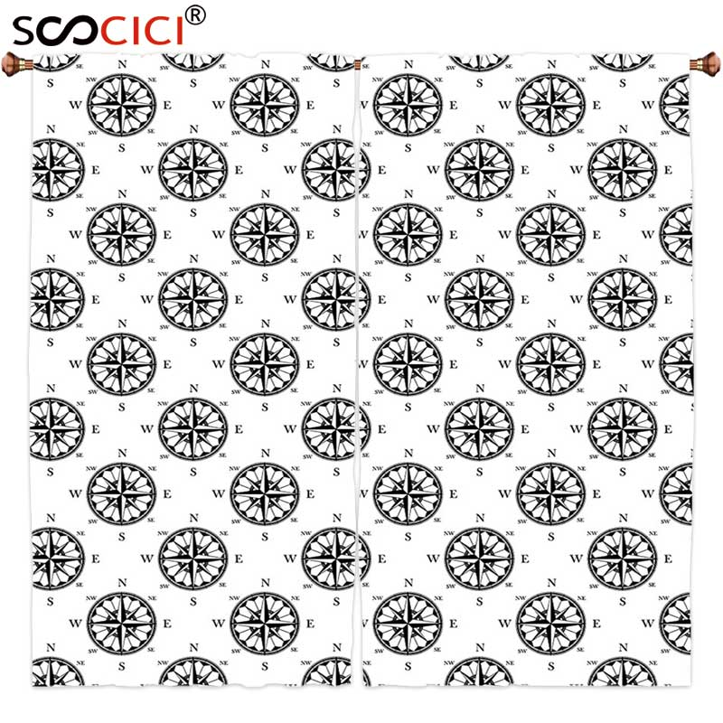 Window Curtains Treatments 2 Panels,Compass Decor Collection Ancient Ornate Compass Roses Directions Pattern in Retro