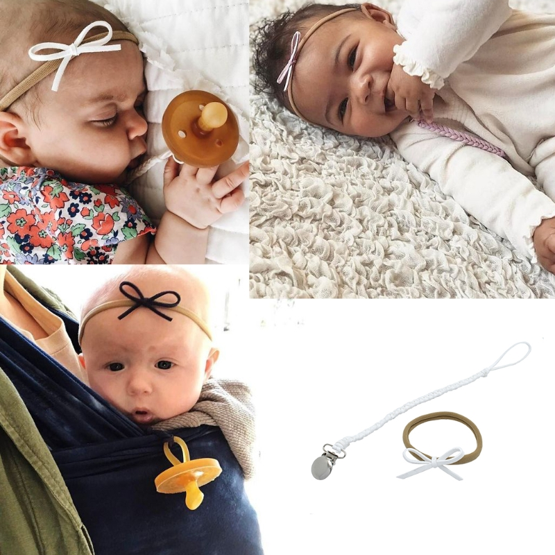 Bow Headband Feeding Metal Leather Baby Nipple Holder Pacifier Clips Chain