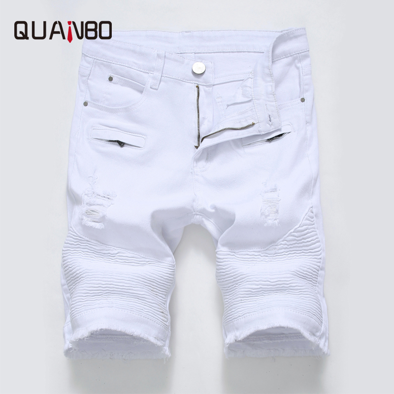 QUANBO 2019 Summer New Arrival Denim Shorts Mens Slim Fit Ripped Hole Casual   Jeans   Shorts Black White High Street   Jeans   Big size