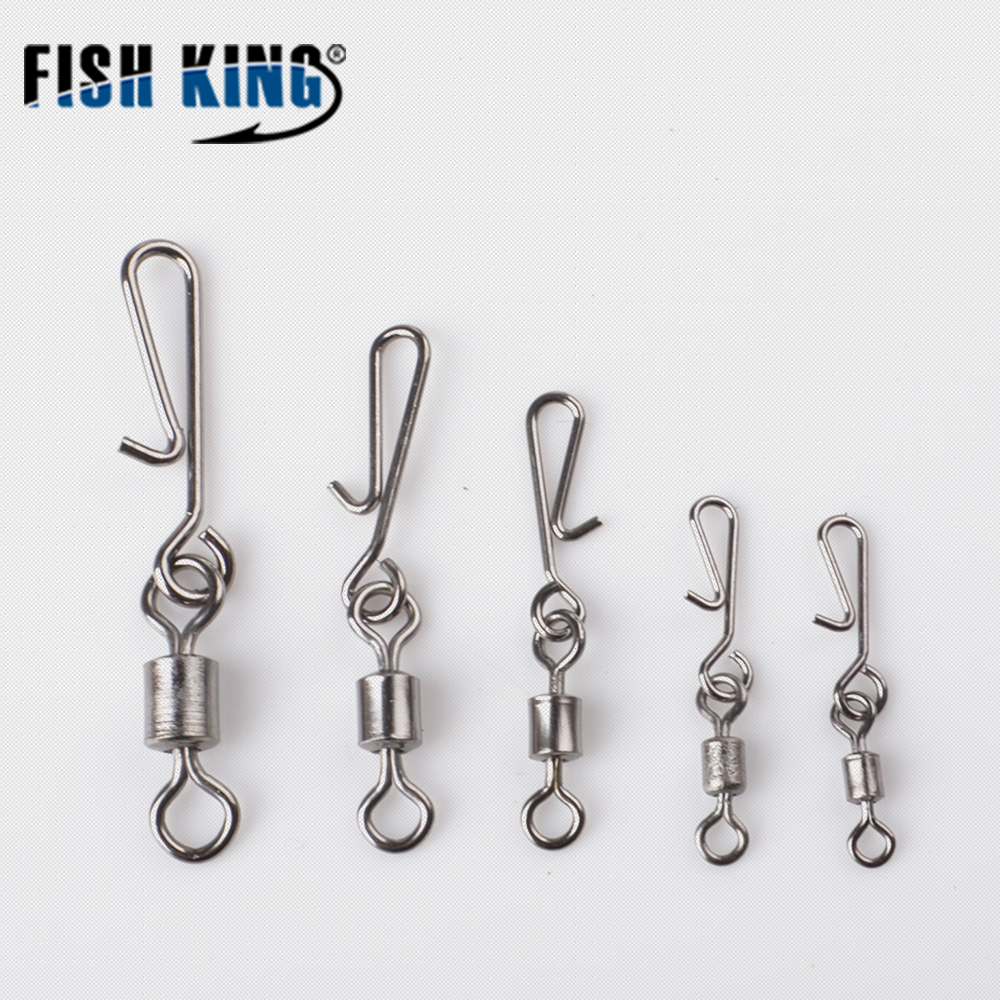 FISH KING Rolling Fishing Swivel 5 pcs/pack Hanging Snap Barrel Interlock Fishing Hook Lure Connector Fishing Accessories 704