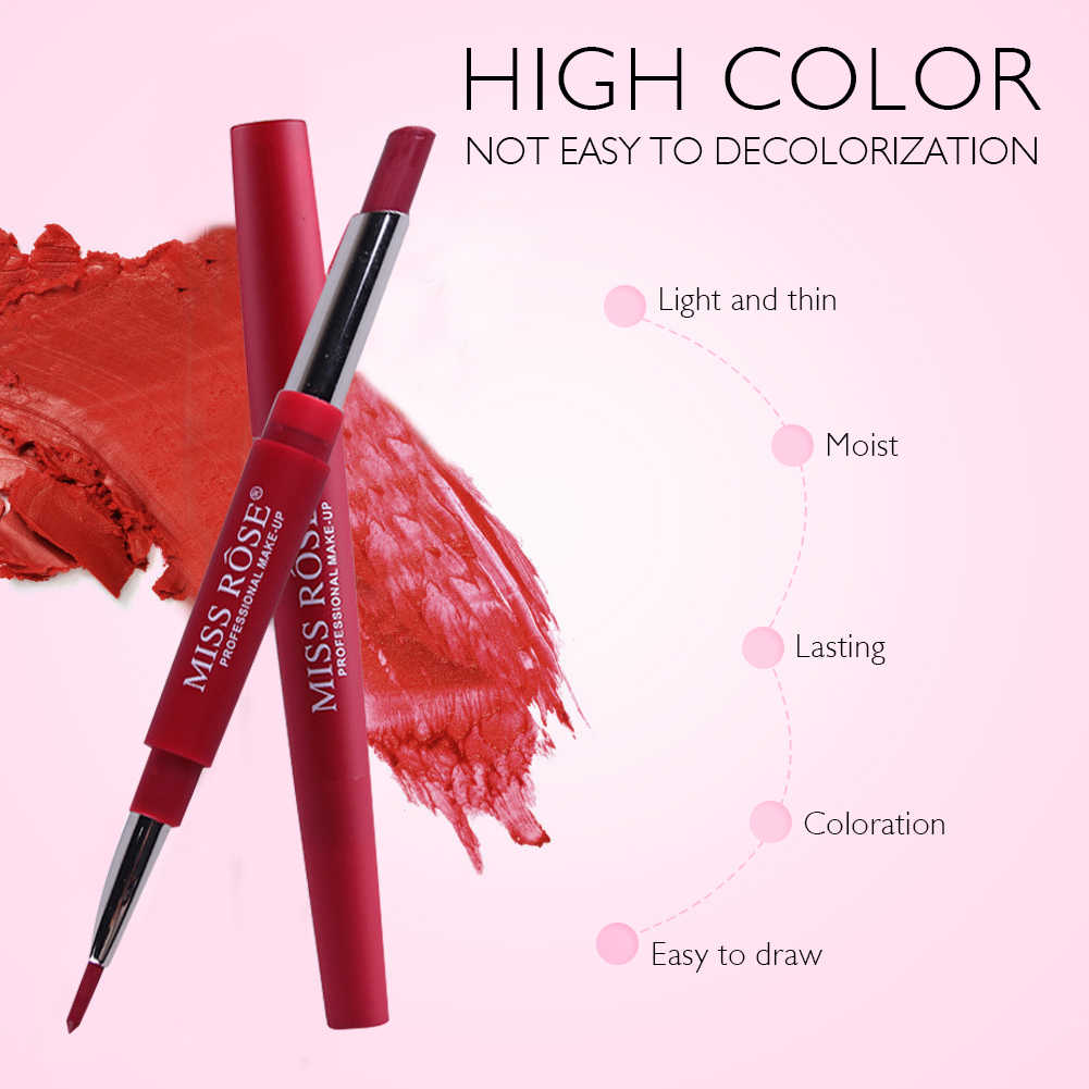 Miss Rose 20 Colors Sexy Matte Lipstick Set  2 In 1 Lip Liner Pencil Waterproof Long Lasting Moisturizer Matte Lipstick TSLM2