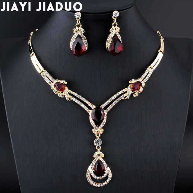 jiayijiaduo New Fashion women Wedding Bridal Accessories Party gold-color Jewelry African Beads Costume Jewelry Sets