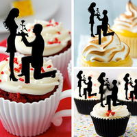 Free Shipping 8pcs Set Bride Groom Wedding Acrylic Cupcake Topper Engagement Ceremony Decors Bridal Shower Cup