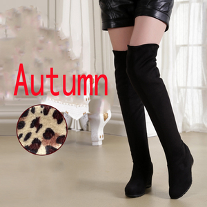 Image 5 - Black Elastic Flock Slim Fit Over The Knee Boots Women 2020 Autumn Winter Sexy ladies high heel wedges Long Thigh High botas