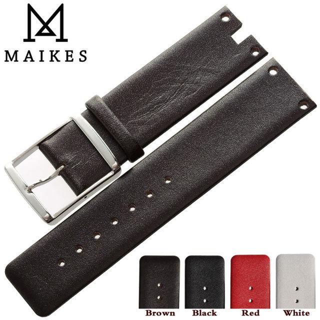 MAIKES nouvelles offres spéciales bracelet de montre en cuir de veau véritable bracelet marron rouge mince souple bracelets de montre étui pour CK Calvin Klein K94231