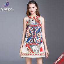 New 2019 Runway Designer Fashion Summer Dress Women's Sleeveless hearts Queen Playing Cards Printed Short Tank Dress Free DHL(China)