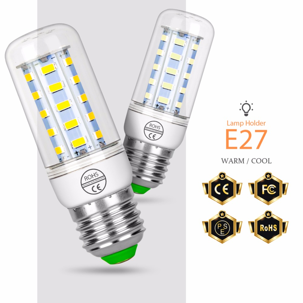 Led E27 Corn Bulbs Candle Lamp 220V SMD 5730 24 36 48 56 69 72 LEDS Lamps E14 Brightness Lights Bulb Home Decoration Lighting