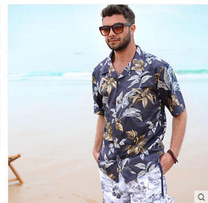 2019 Mens Beach Shirts Cotton Short Sleeved Loose  Man Casual Holiday Hawaiian Shirt Male Summer Clothing Hawaii Shirt Tops K30 close-up