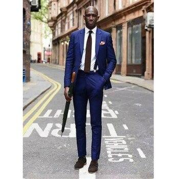 Men's suits, Homme New Arrival Custom Made Groomsmen Suits Peaked Lapel Blue Men Wedding Suits Fashion men suit(Jacket+Pants