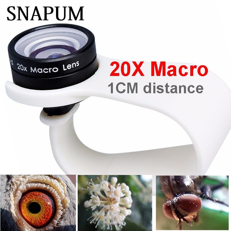 SNAPUM 20X Super Celular Lentes Macro Macro Lente do telefone móvel para Huawei xiaomi iphone 6 7 8 10 Samsung, só usar 1 cm de distância.