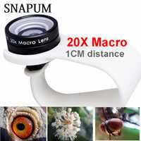 SNAPUM mobile phone Macro Lens 20X Super Cellphone Macro Lenses for Huawei xiaomi iphone 6 7 8 10 Samsung,only use 1cm distance.