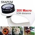 SNAPUM teléfono móvil lente Macro 20X Super teléfono celular lentes Macro para Huawei xiaomi iphone 6 7 8 10 Samsung ¡sólo uso de 1 cm de distancia!
