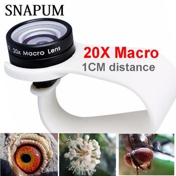 Snapum Ponsel Lensa Makro 20X Super Ponsel Lensa Makro untuk Huawei Xiaomi Iphone 6 7 8 10 Samsung hanya Menggunakan 1 Cm Jarak.