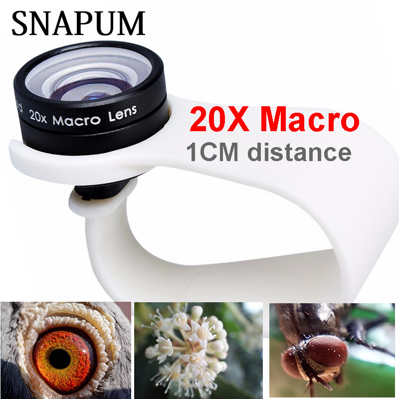 Snapum teléfono móvil lente macro 20x Super celular macro Objetivos para Huawei xiaomi iPhone 5 6 7 8 Samsung, sólo utilice 1 cm distancia.