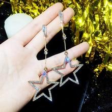 SUKI 2019 crystal five-pointed star pendant earrings Brincos ladies fashion long stars earrings pendant manufacturers цена
