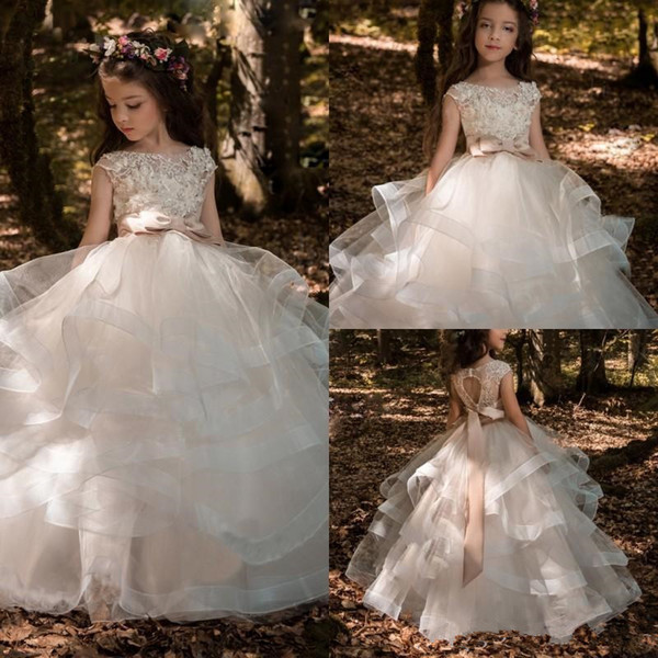 2019 Flower Girl Dresses Ball Gown Arabic Puffy Tulle Child Little Bride With Sash Little Girl Pageant Dresses Keyhole Back