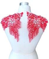 Пришить стразы кружева аппликация красной отделкой патчи для платья DIY аксессуары 24*18 см * 2 шт