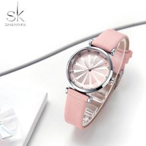Image 4 - Shengke relojes de lujo para Mujer, Reloj femenino de cuero, a la moda, con diamantes Bayan Kol Saati, 2020