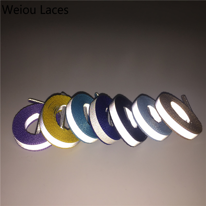Weiou (30pairs/lot) 4M Reflective Bootlace Shoelaces Visibility Flat Sport Shoe Laces Running Walking Cycling Safty Shoestrings