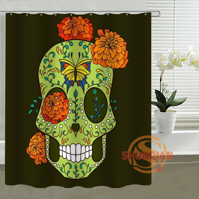 Day Of The Dead Sugar Skull Personalized Custom Shower Curtain Bath Waterproof