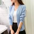 2015 весна осень женщины свитер рубашка краткое тонкие кардиган свитера мода all-матч мыс короткая куртка женщин 9 цвет