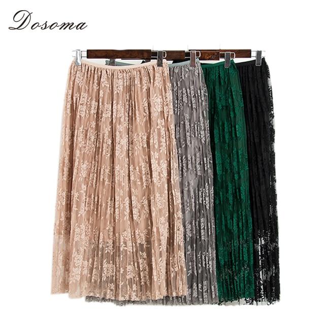 black lace skirt girls 2017 spring korean style autumn high waist lace pleated skirt women elegant hollow out mesh long skirt