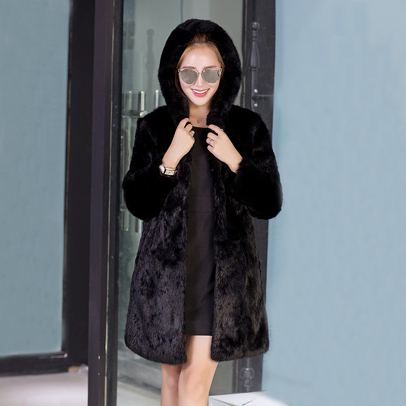 2019 New Women Clothing Natural Real Fur Coat Hoodies Rabbit Fur Jacket Winter Warm Long Overcoat Oversized Puls Size Tsr615