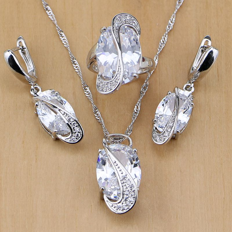 Trendy 925 Sterling Silver Bridal Jewelry White CZ Jewelry Set For Women Wedding Earrings/Pendant/Necklace/Rings ...