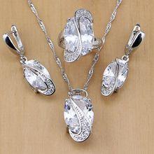 Moda 925 plata esterlina joyería nupcial blanco CZ joyería Set para mujeres boda Pendientes/colgante/Collar/Anillos