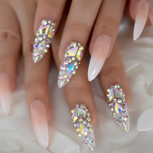 Luxury Fake Nails Designer Extra Long Ombre French Jewelry Pre designed Nails Natural Stiletto AB Stones Decoration Tips-in False Nails from Beauty & Health on AliExpress