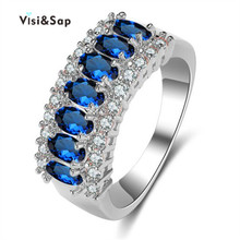 Vissap NEW Sapphire ring White Gold Plated rings for women Wedding engagement Ring sets party bague Wholesale Hot  style VSR132