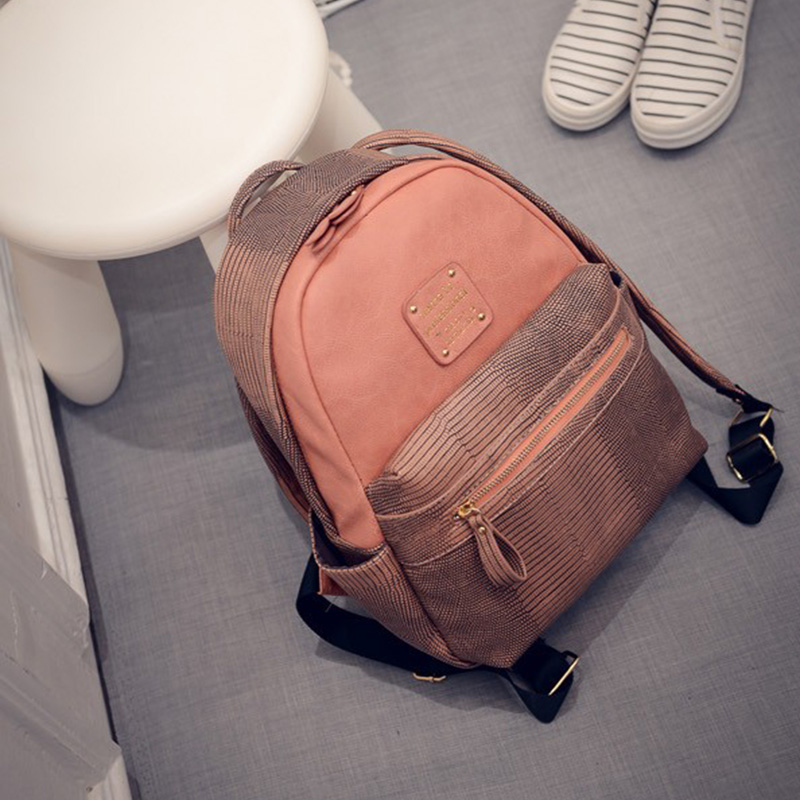 New Arrival Vintage Casual Preppy Style Plaid PU Leather School Bags For Teenagers Girls Women Serpentine Travel Backpack -47