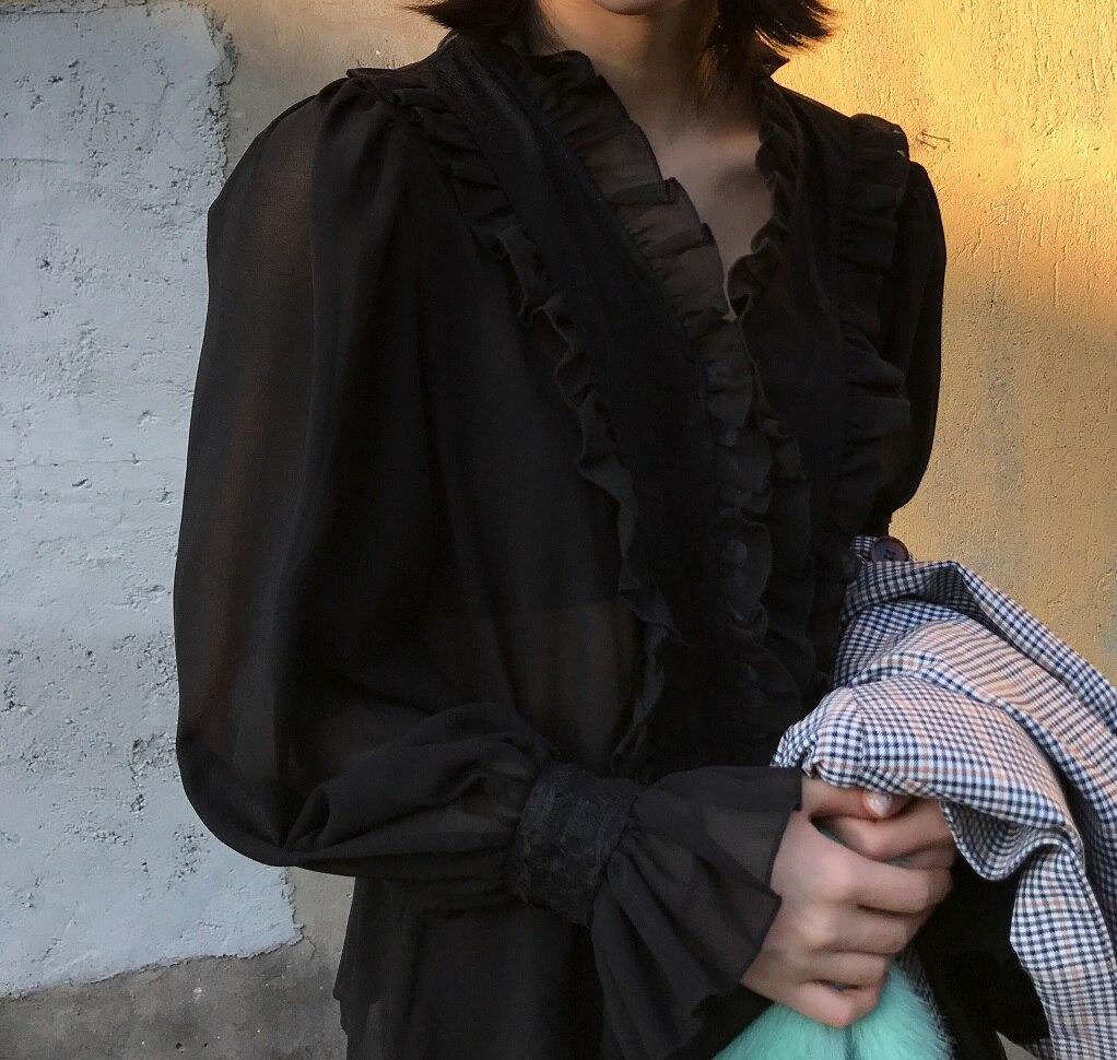 Punk Sexy Shirts Gothic Diepe V hals Zwart Kant Shirt Lange Mouw Hol Vrouwen Ondergoed Halter Rose Lace Shirt - 3