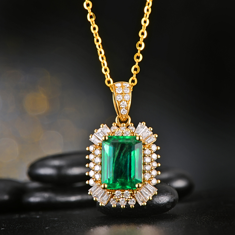 Free shipping CaiMao 2.21 ct Natural Emerald 18KT/750 Yellow Gold  0.68 ct Diamond Engagement Pendant Jewelry GemstoneFree shipping CaiMao 2.21 ct Natural Emerald 18KT/750 Yellow Gold  0.68 ct Diamond Engagement Pendant Jewelry Gemstone