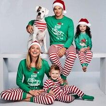 Family Christmas Pajamas Set Striped Mama Daughter Father So