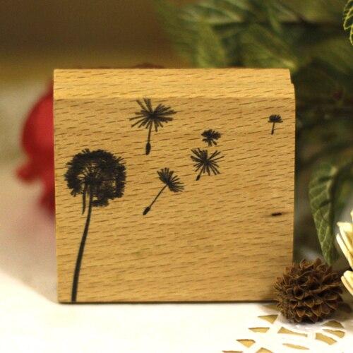 Haute qualité 5*5 cm pissenlit diy carte postale ou signet scrapbooking timbre, belle en bois en caoutchouc timbres livraison gratuite dans Timbres de Bureau et des Fournitures Scolaires